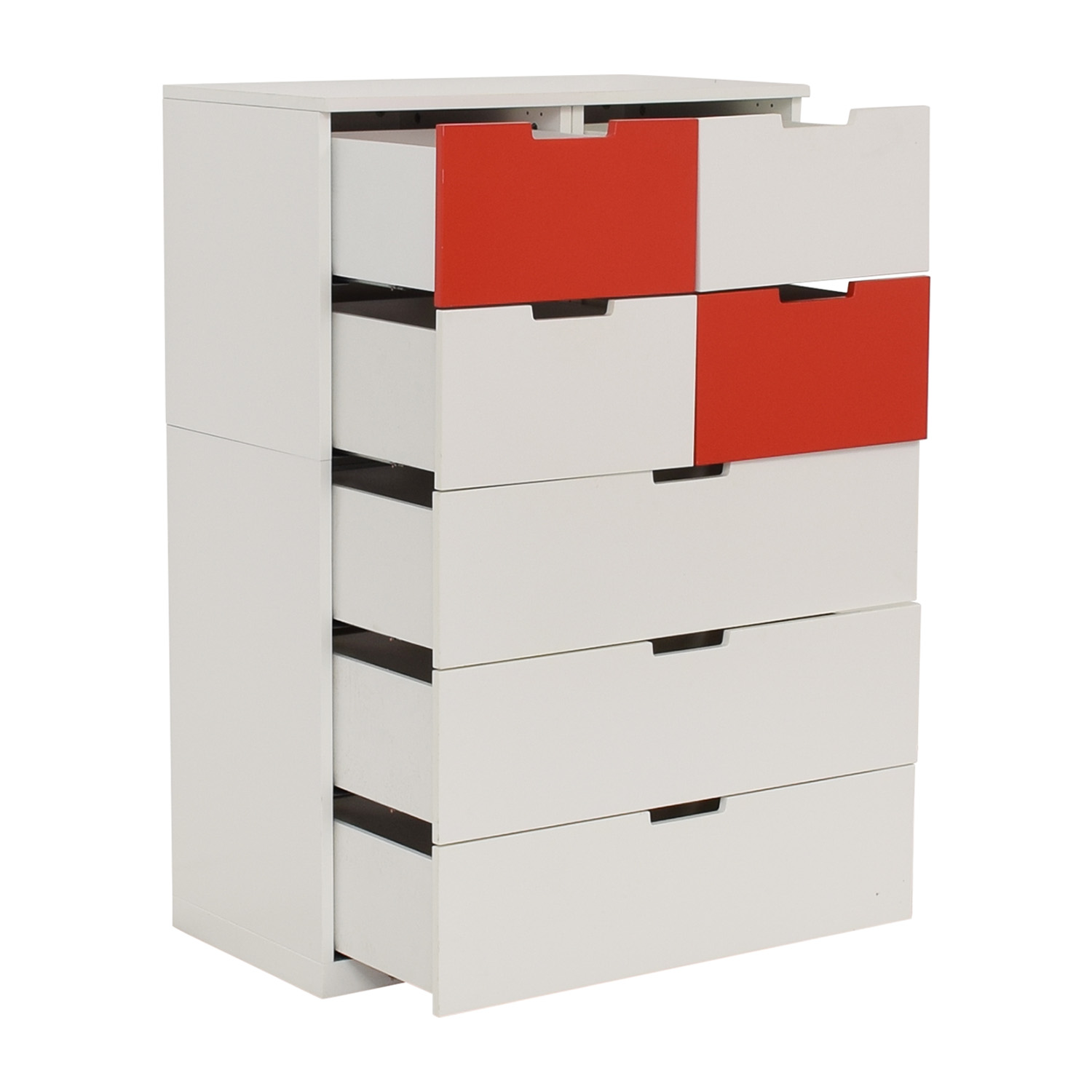 IKEA IKEA White and Red Seven-Drawer Unit nj