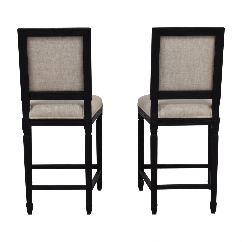 Restoration hardware Restoration Hardware Beige Upholstered Black Stools black and beige