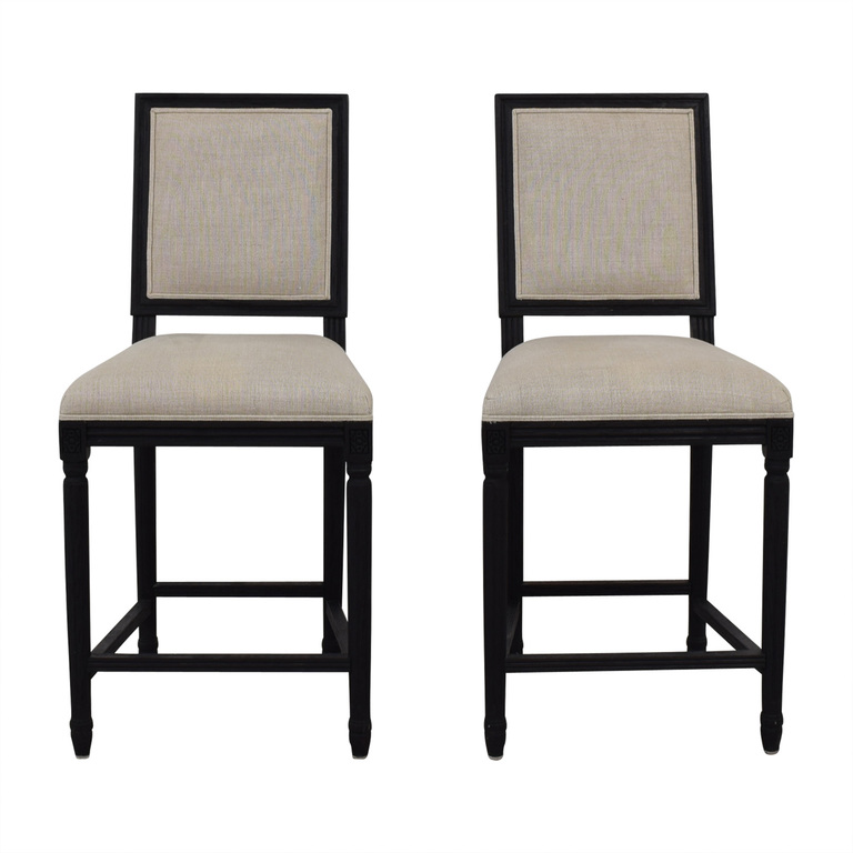 Restoration Hardware Restoration Hardware Beige Upholstered Black Stools on sale