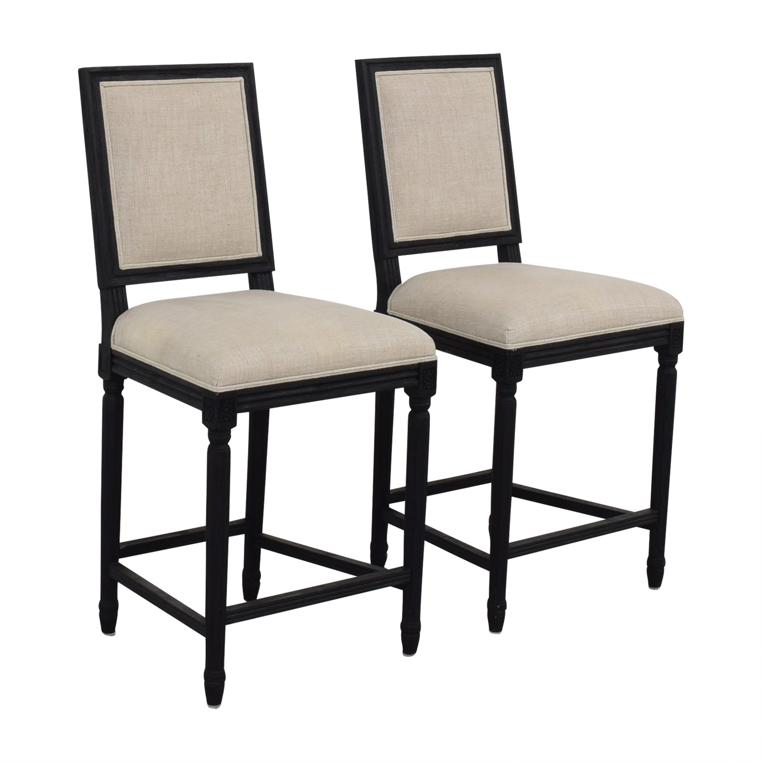 Restoration hardware Restoration Hardware Beige Upholstered Black Stools second hand