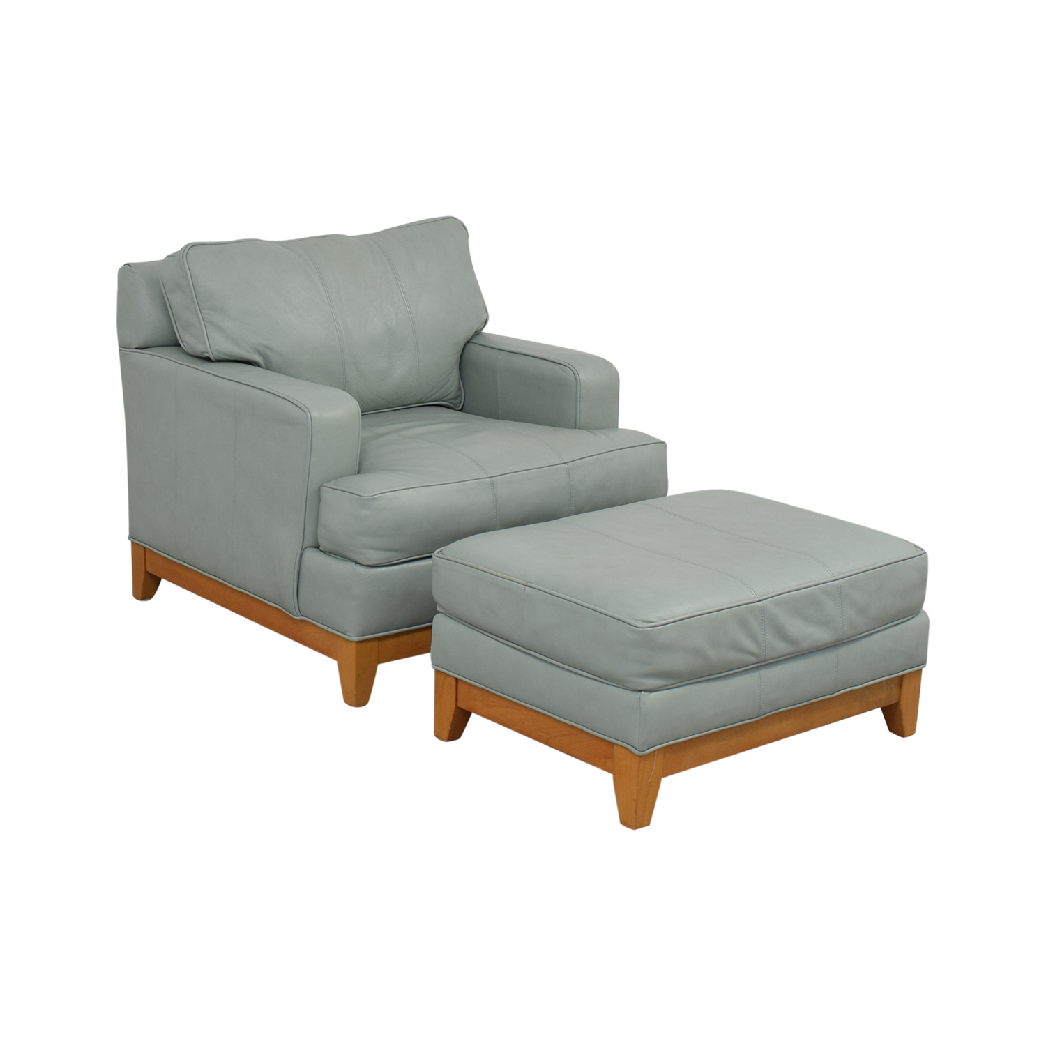 83 Off Ethan Allen Ethan Allen Oversized Blue Accent Chair And Ottoman Chairs