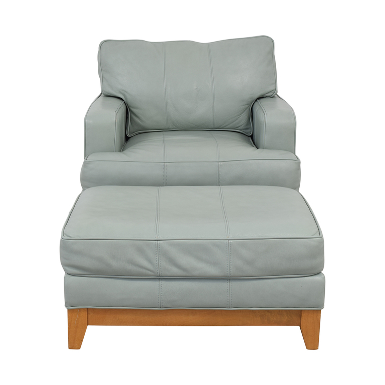 shop Ethan Allen Oversized Blue Accent Chair and Ottoman Ethan Allen