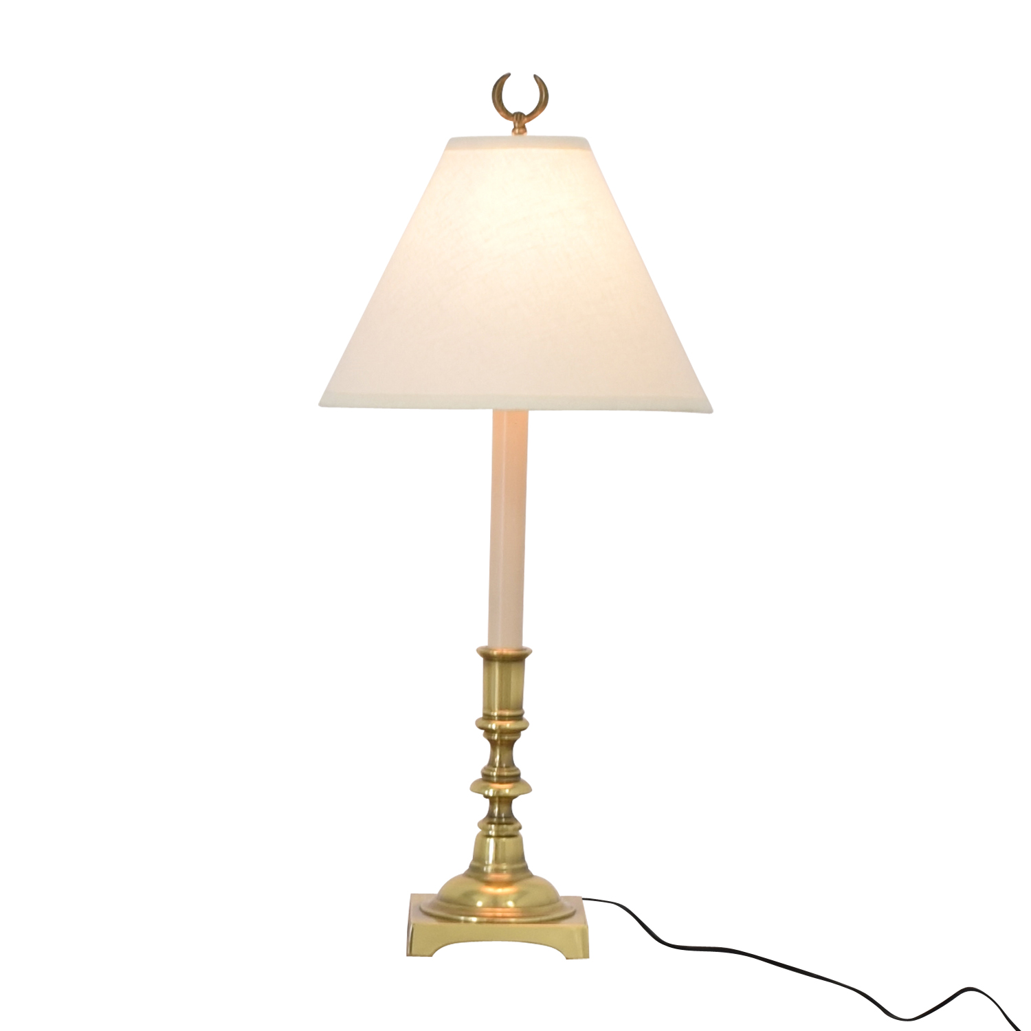 Stiffel Beige And Brass Table Lamp