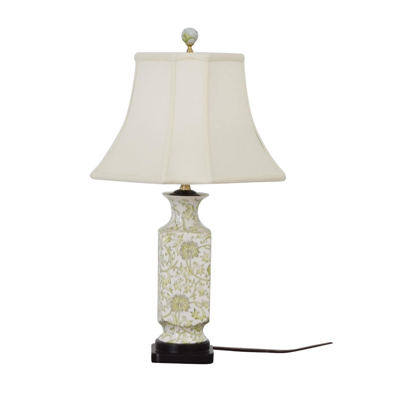 Green & White Ceramic Lamp for sale