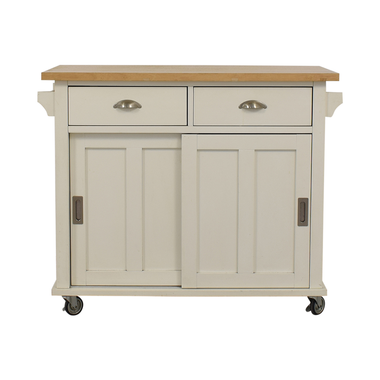 Crate & Barrel Crate & Barrel Belmont White Kitchen Island with Dropleaf on Castors second hand