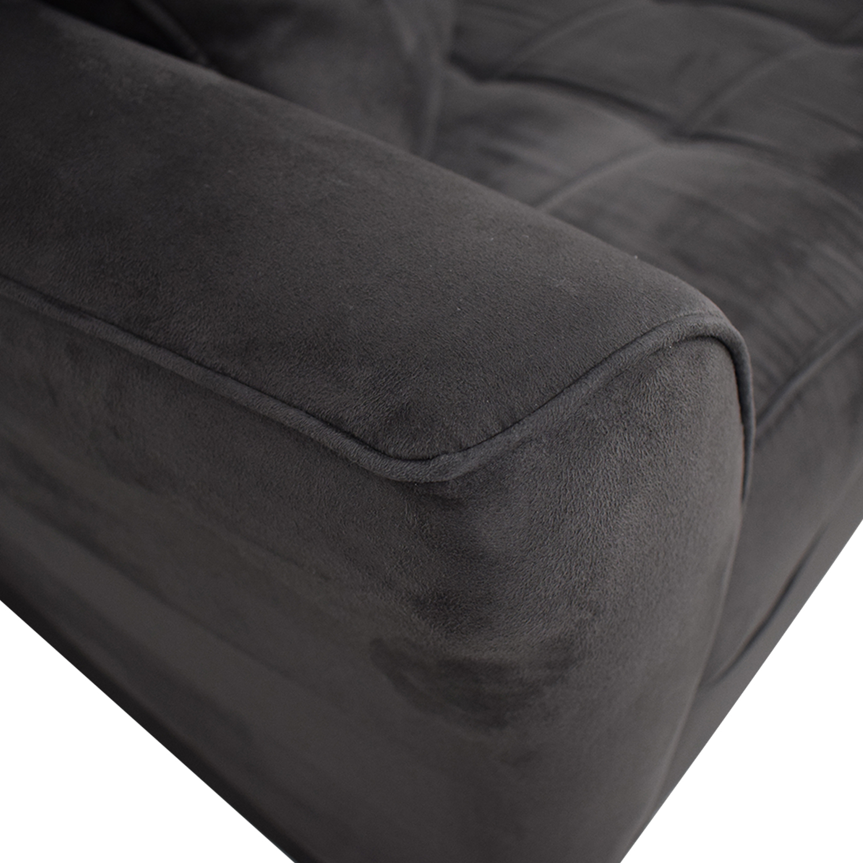 Raymour & Flanigan Raymour & Flanigan Rory Slate Microfiber Sofa
