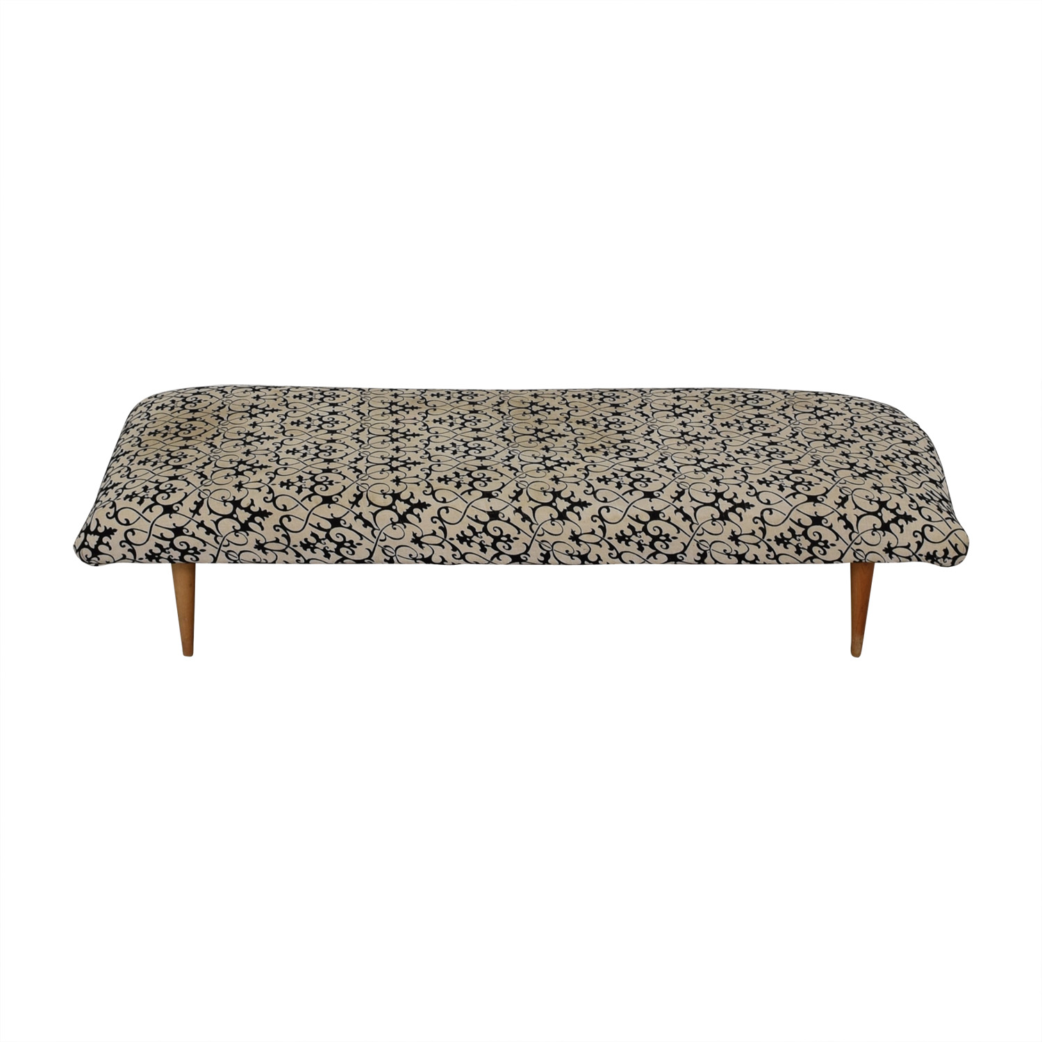 shop Vintage White and Black Upholstered Bench  Benches
