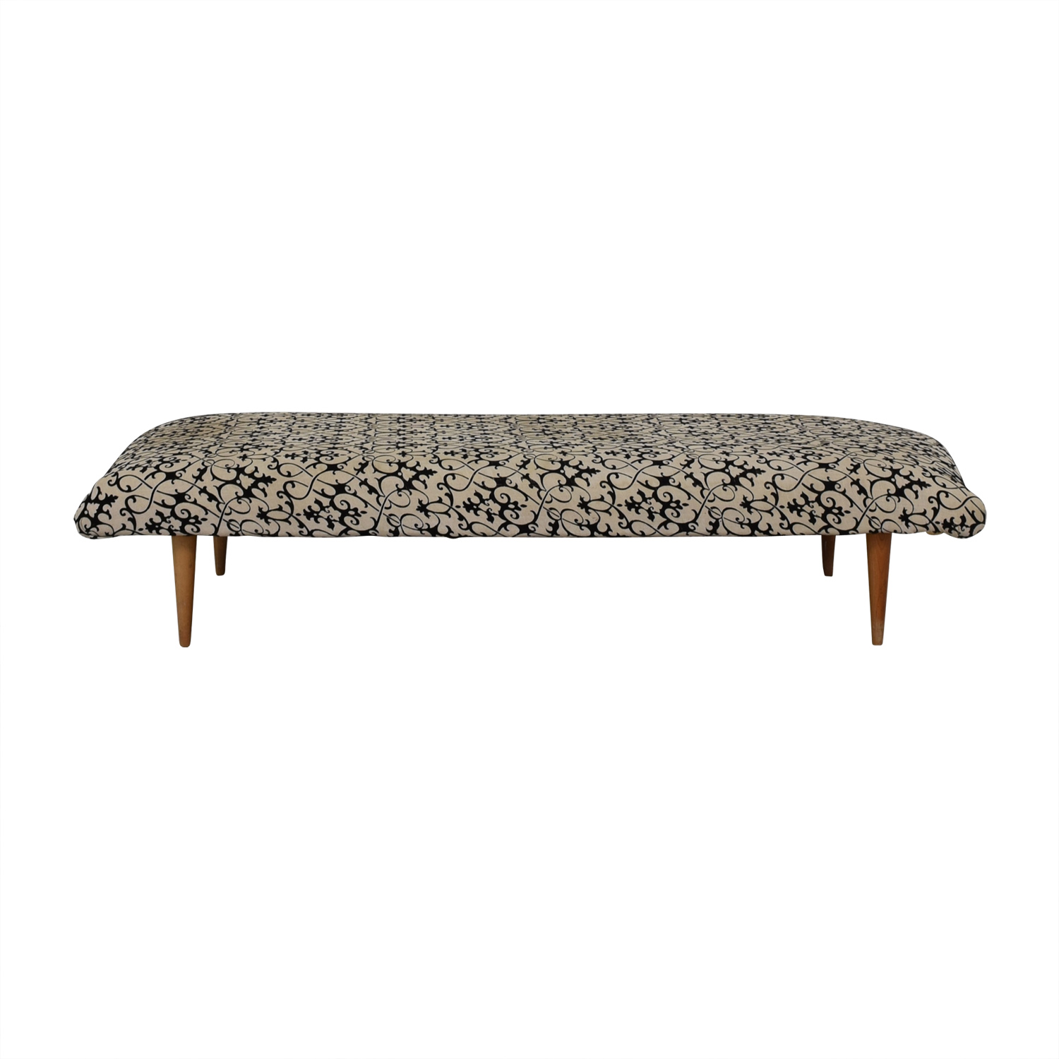 Vintage White and Black Upholstered Bench nyc