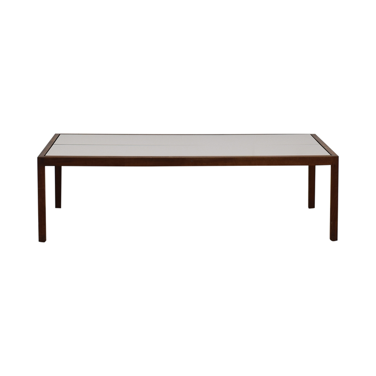 Knoll Knoll White Laminate and Walnut Coffee Table nj