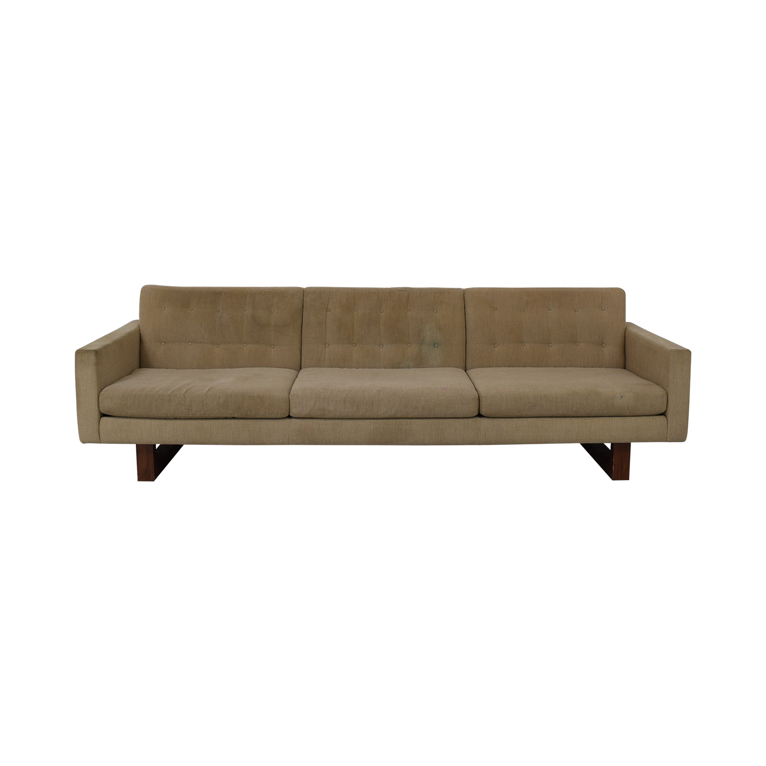American Leather American Leather Tan Tufted Three-Cushion Sofa nyc