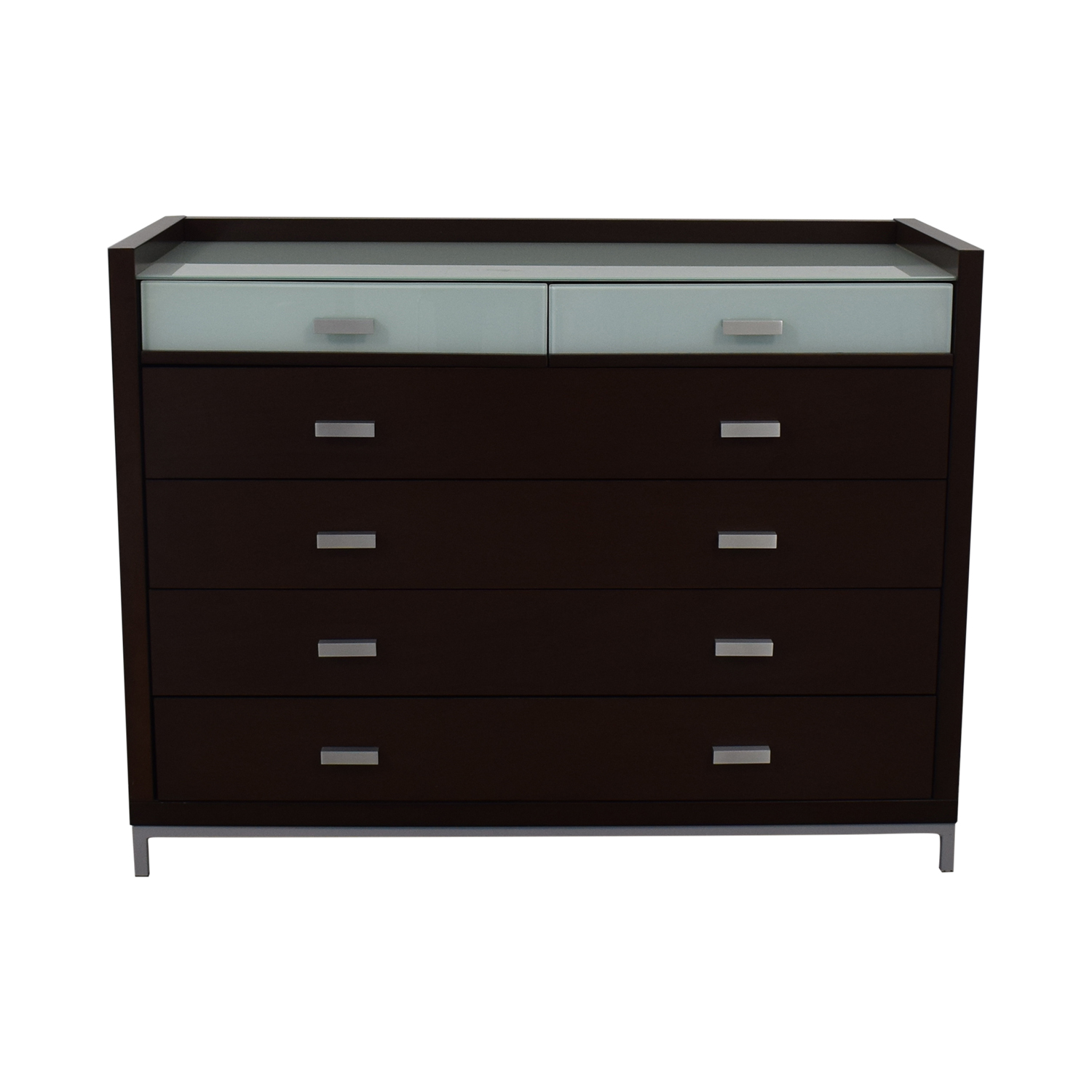 Six-Drawer Dresser With Frosted Glass