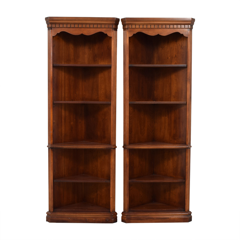 Triangular Corner Wood Bookshelves for sale