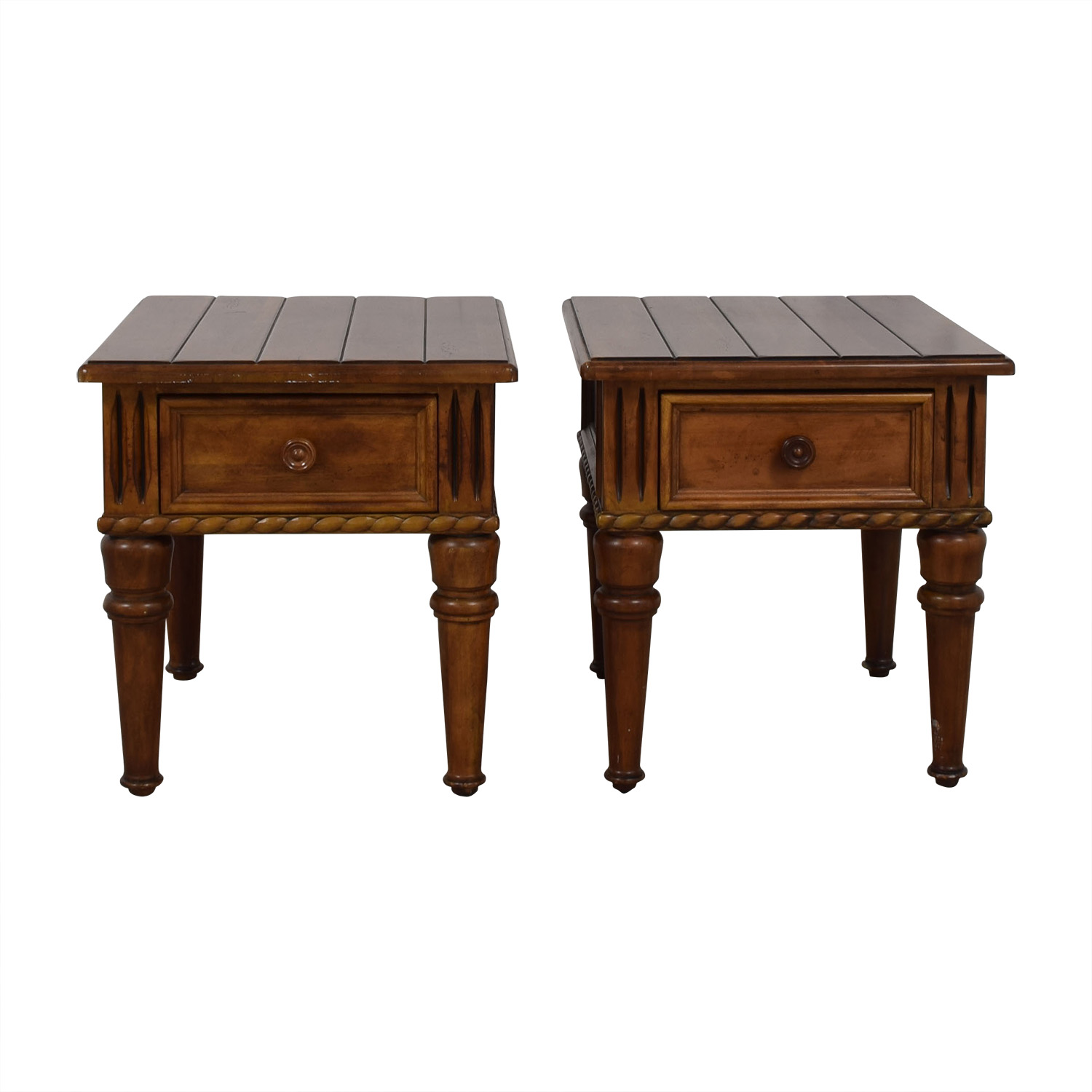 73 Off Thomasville Thomasville Ernest Hemingway Collection Single Drawer Carved Wood End Tables Tables