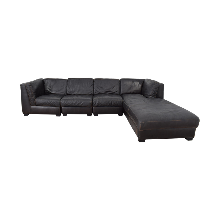 ABC Carpet & Home ABC Carpet & Home CRETA Leather Sectional Sofa for sale