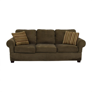 Jennifer Convertibles Jennifer Convertibles Olive Three-Cushion Couch for sale
