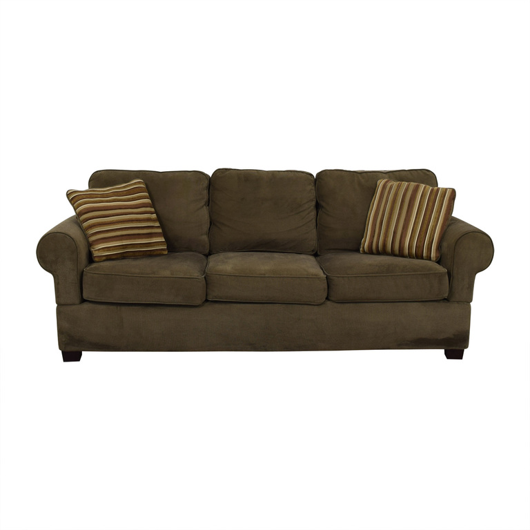 Jennifer Convertibles Olive Three-Cushion Couch Jennifer Convertibles