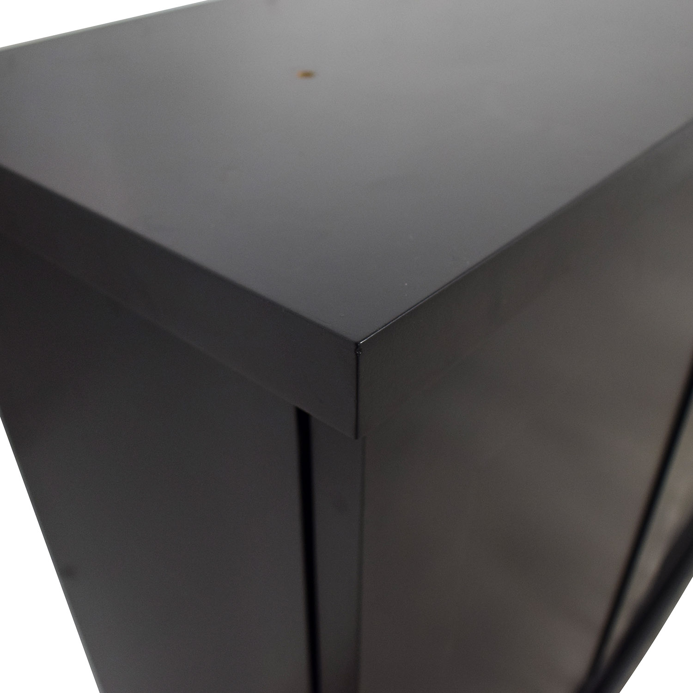 Black Ebonized Wood Two-Door Cabinets