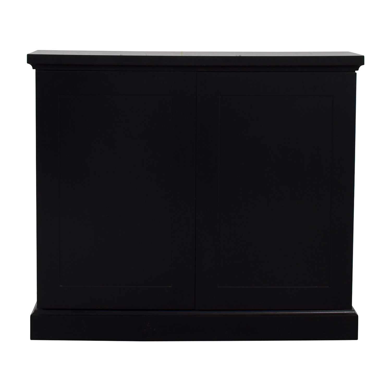 Black Ebonized Wood Two-Door Cabinets / Cabinets & Sideboards