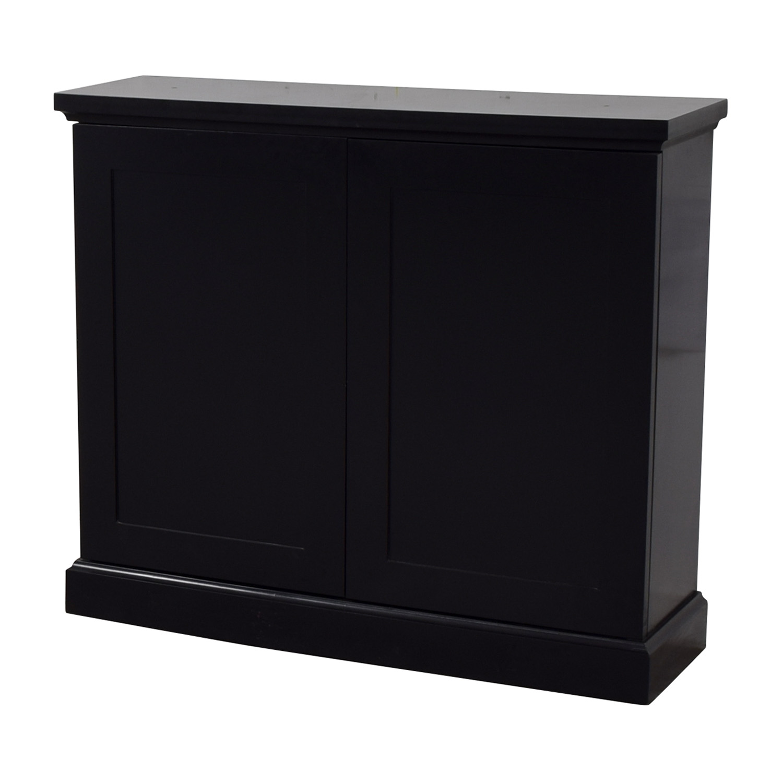 Black Ebonized Wood Two-Door Cabinets discount