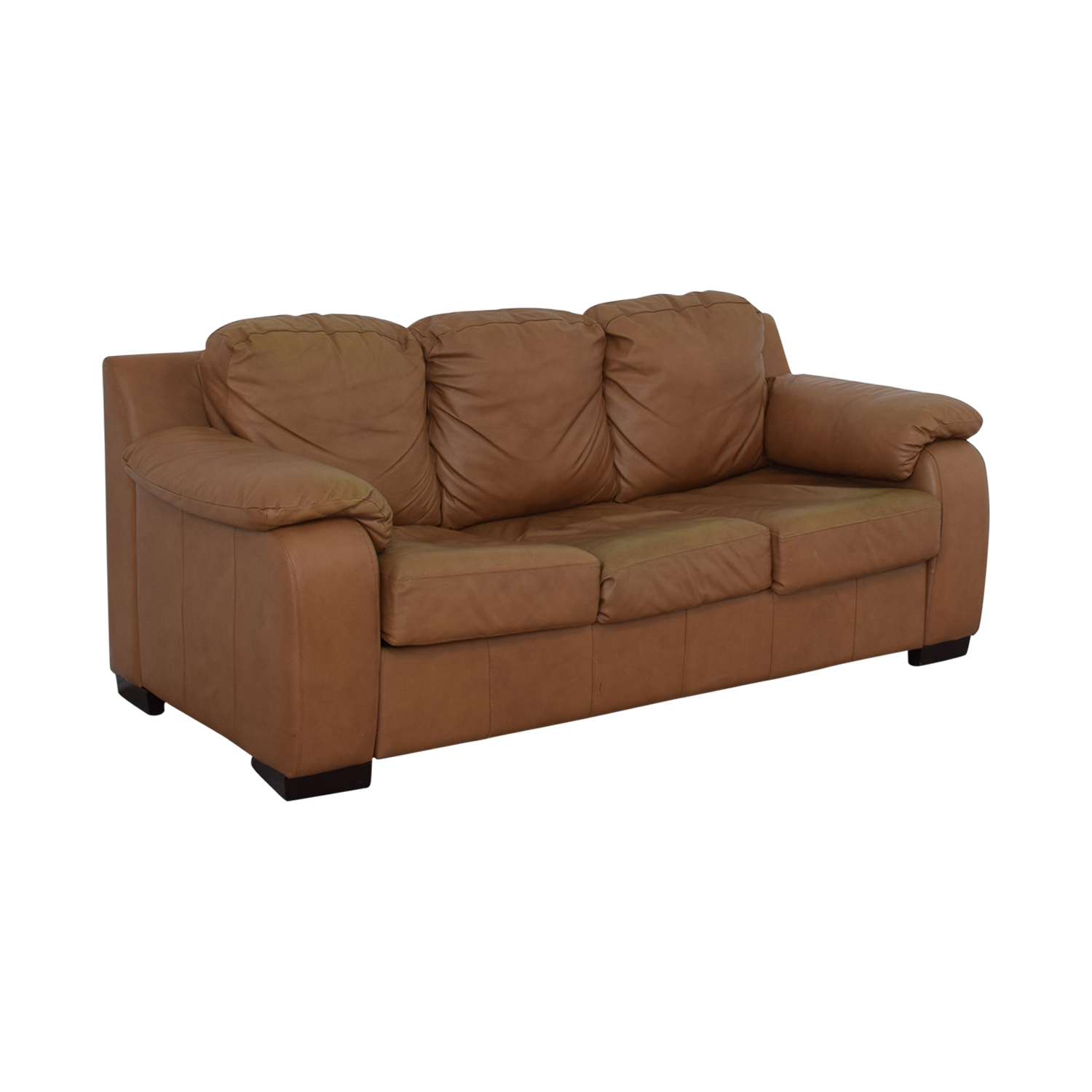 Jennifer Convertibles Cognac Three-Cushion Sofa with Pull-Out Full Convertible sale