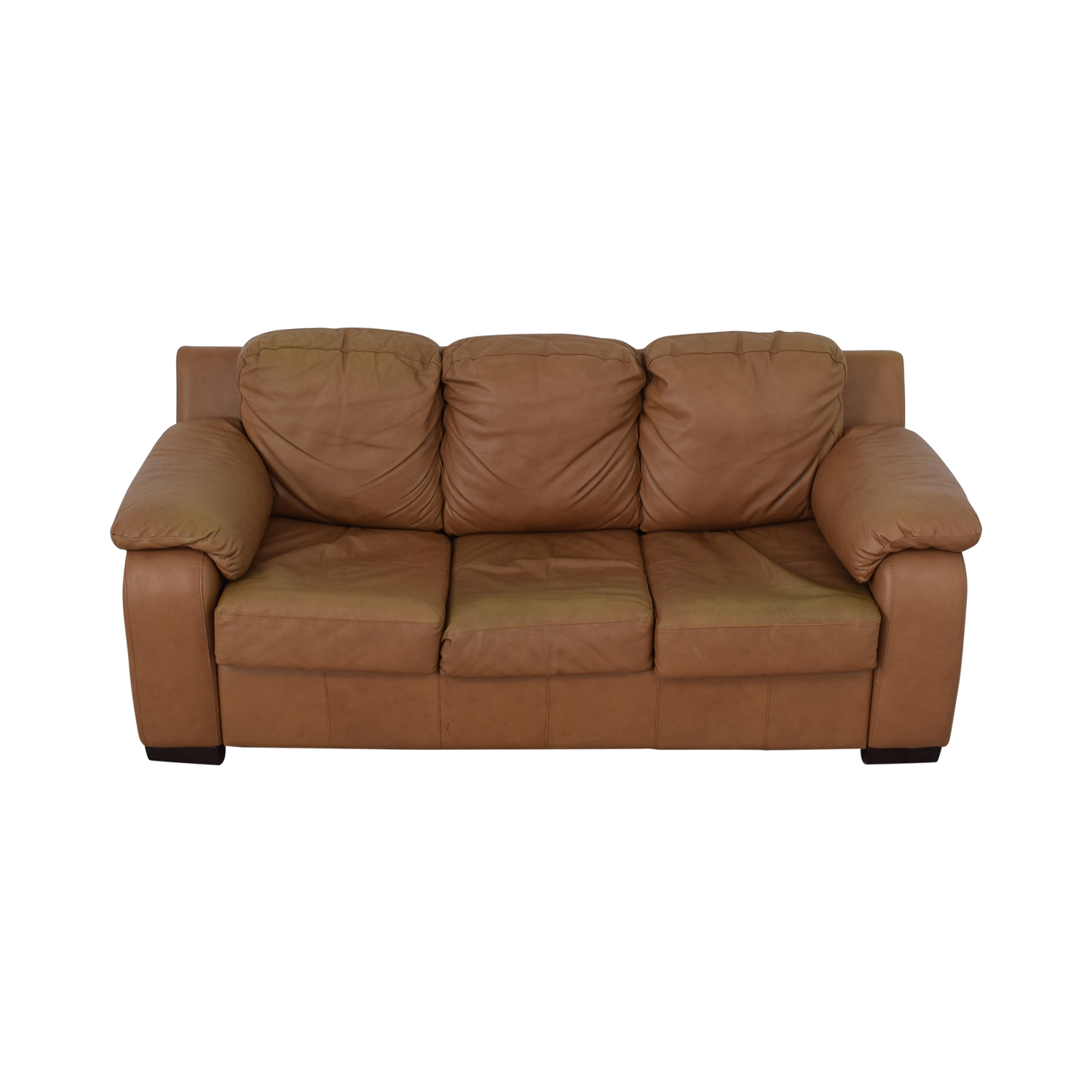 buy Jennifer Convertibles Jennifer Convertibles Cognac Three-Cushion Sofa with Pull-Out Full Convertible online
