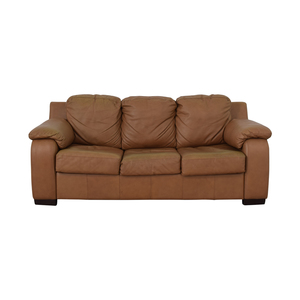 shop Jennifer Furniture Cognac Three-Cushion Sofa with Pull-Out Full Convertible Jennifer Furniture