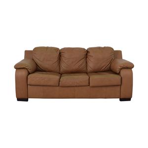 shop Jennifer Furniture Cognac Three-Cushion Sofa with Pull-Out Full Convertible Jennifer Furniture