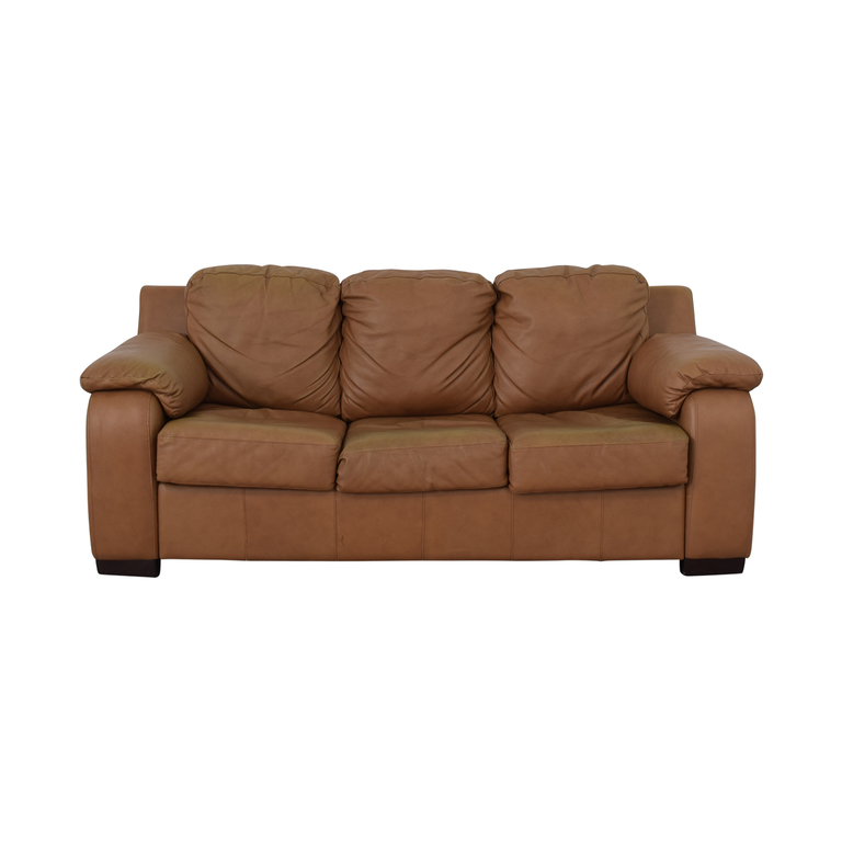 Jennifer Furniture Cognac Three-Cushion Sofa with Pull-Out Full Convertible Jennifer Furniture