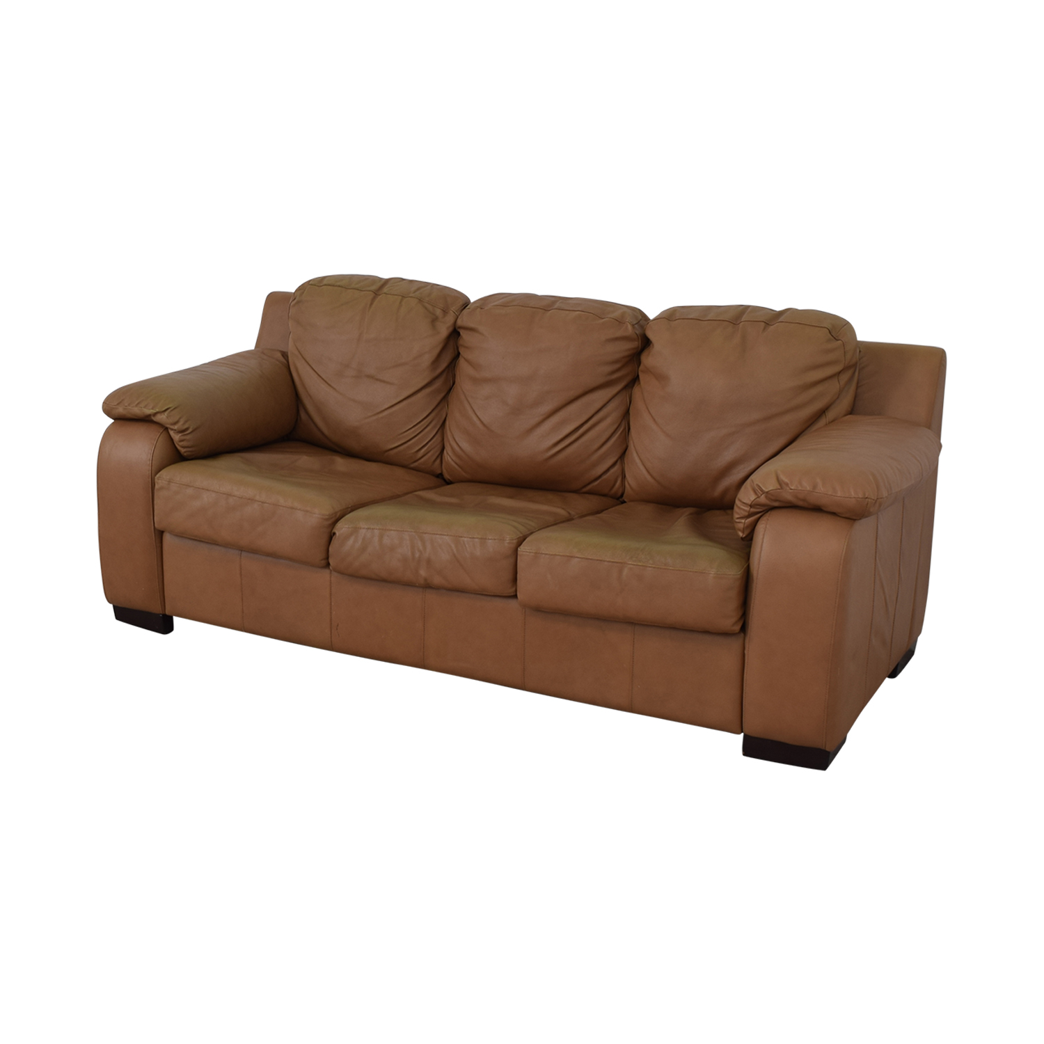 buy Jennifer Convertibles Cognac Three-Cushion Sofa with Pull-Out Full Convertible Jennifer Convertibles Sofas