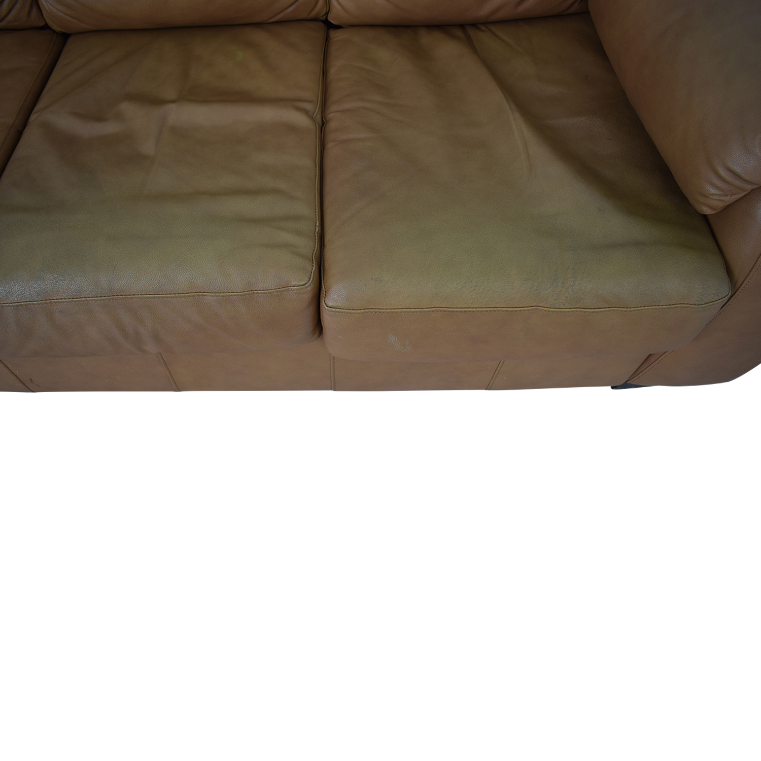 buy Jennifer Convertibles Cognac Three-Cushion Sofa with Pull-Out Full Convertible Jennifer Convertibles Classic Sofas