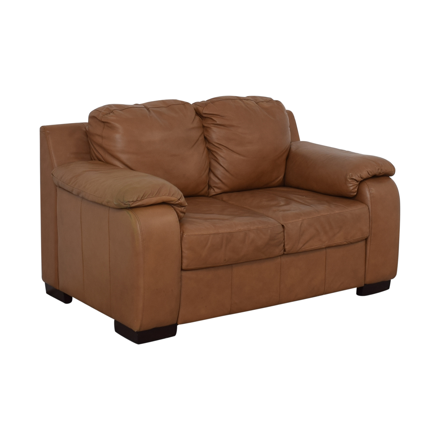 Jennifer Furniture Jennifer Furniture Cognac Two-Cushion Loveseat nj