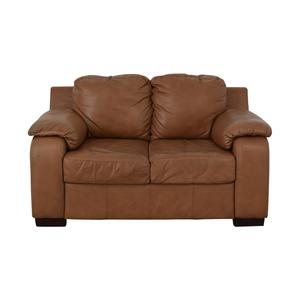 shop Jennifer Furniture Cognac Two-Cushion Loveseat Jennifer Furniture