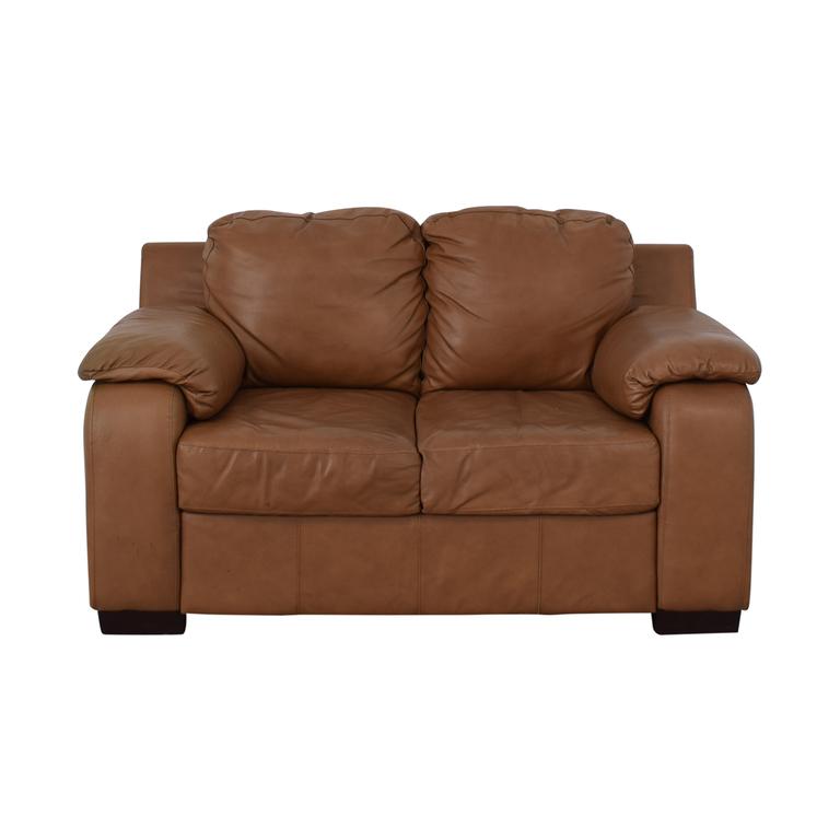 Jennifer Furniture Jennifer Furniture Cognac Two-Cushion Loveseat nj