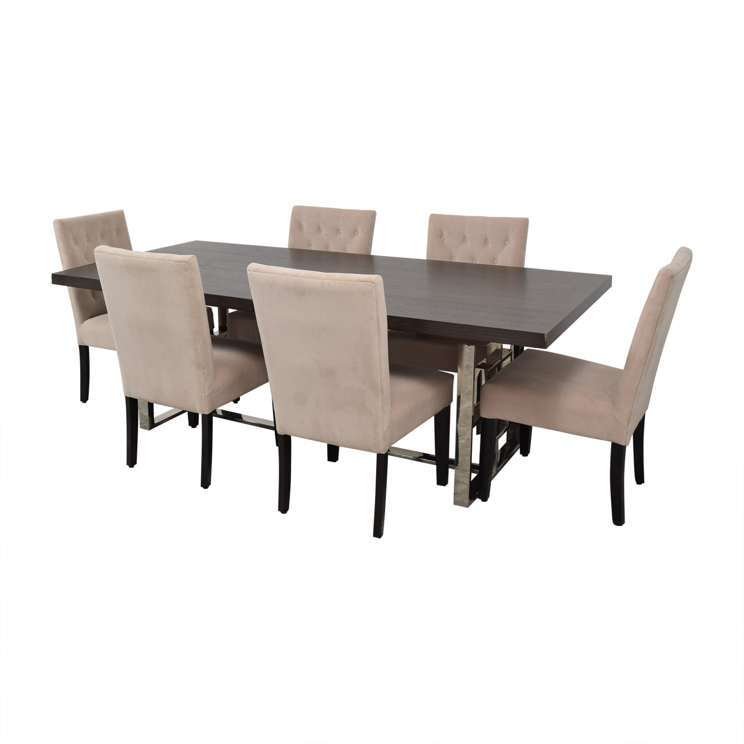 Z Gallerie Z Gallerie Rylan Extentable Dining Set with Beige Tufted Chairs dimensions