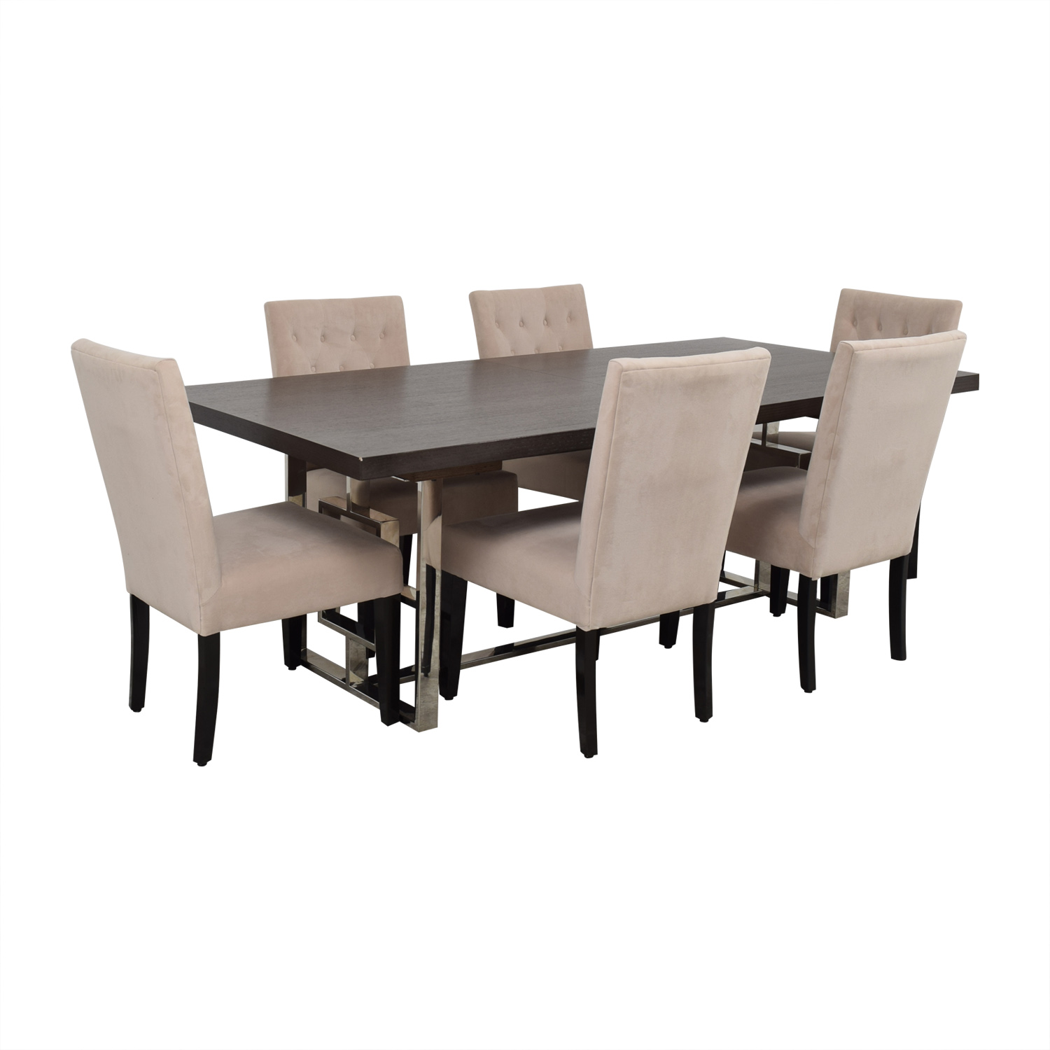 Z Gallerie Rylan Extentable Dining Set with Beige Tufted Chairs Z Gallerie