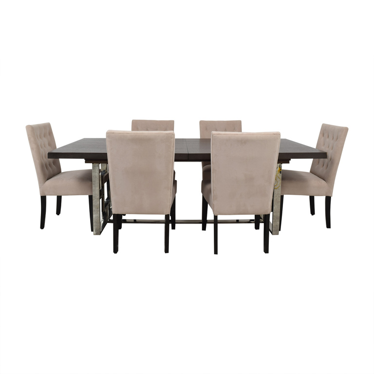 Z Gallerie Z Gallerie Rylan Extentable Dining Set with Beige Tufted Chairs second hand