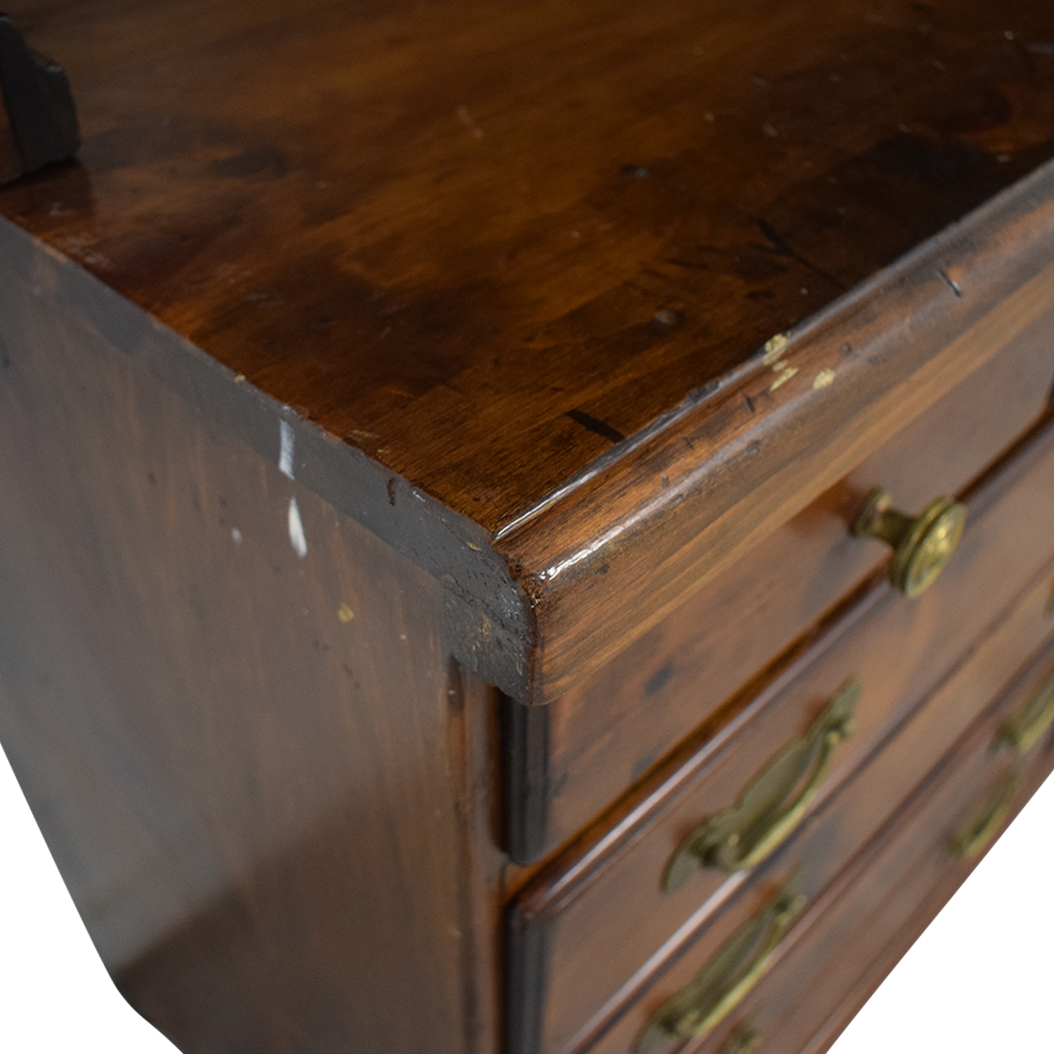 Wood Twelve-Drawer Dovetailed Sideboard with Hutch BROWN