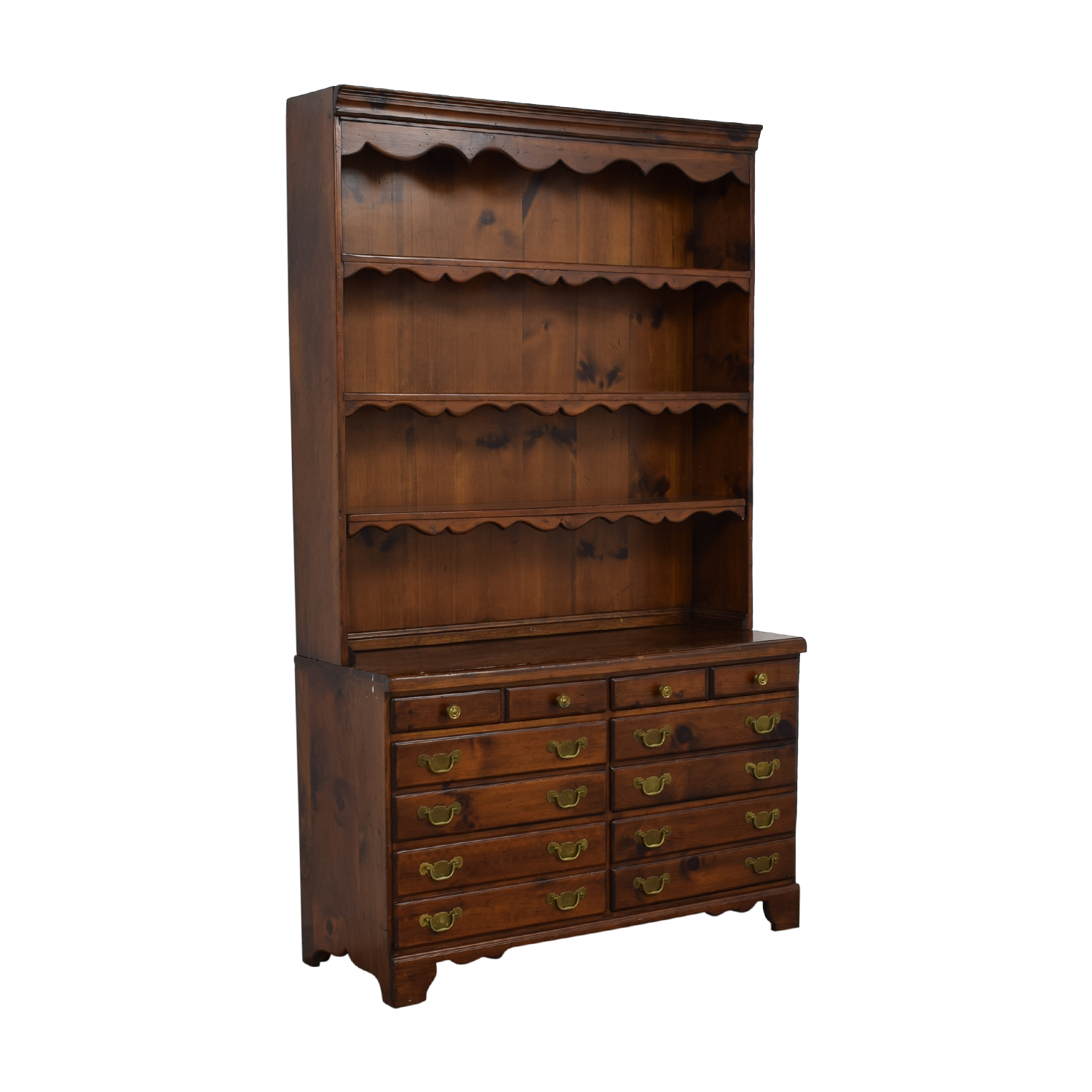 Wood Twelve-Drawer Dovetailed Sideboard with Hutch for sale