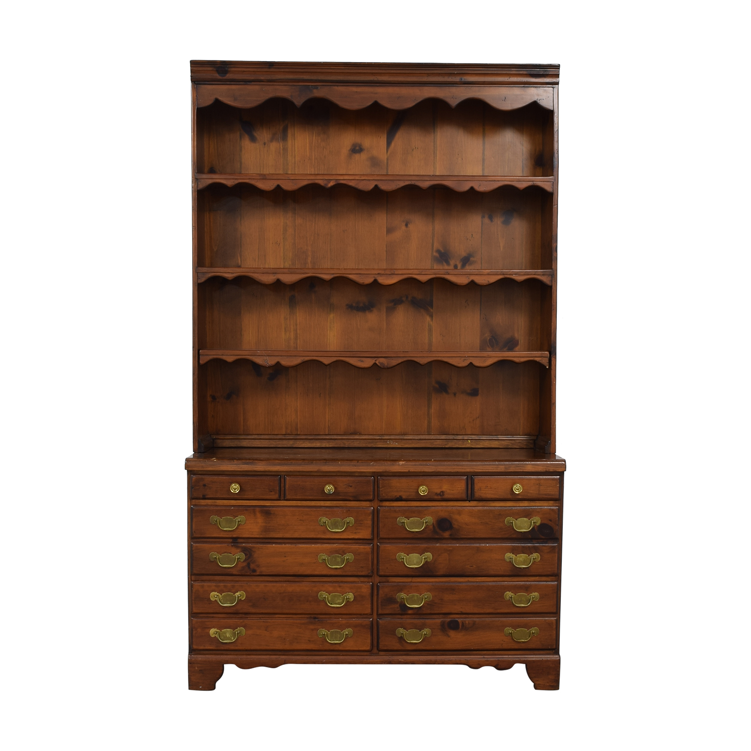 Wood Twelve-Drawer Dovetailed Sideboard with Hutch nj