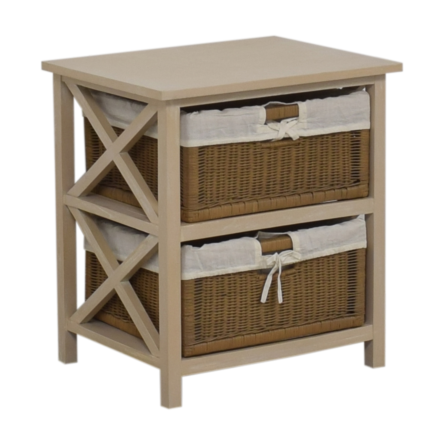 End Table With Two Wicker Baskets light gray