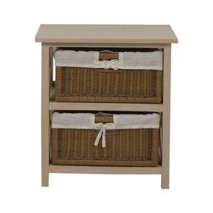 End Table With Two Wicker Baskets nyc