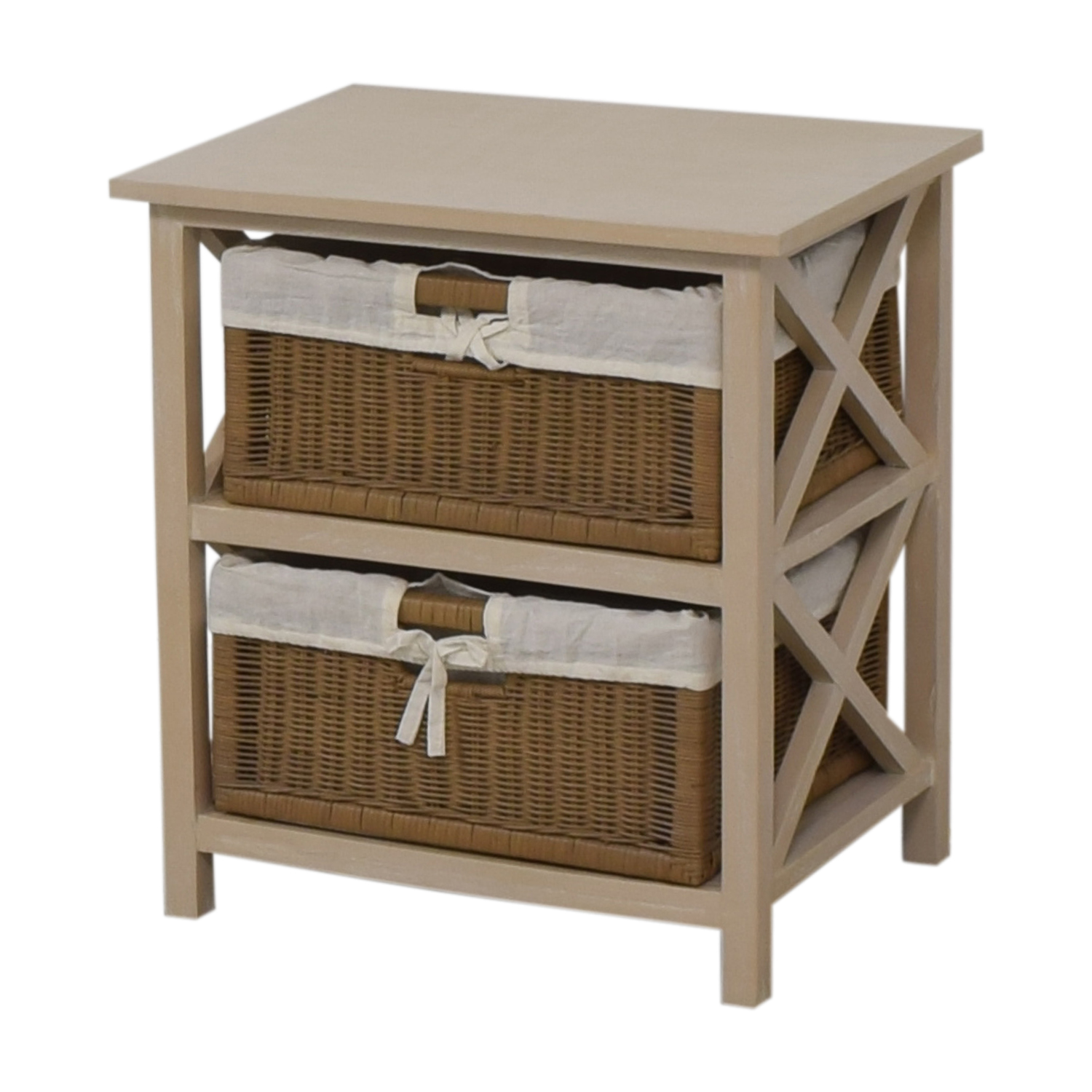 End Table With Two Wicker Baskets dimensions