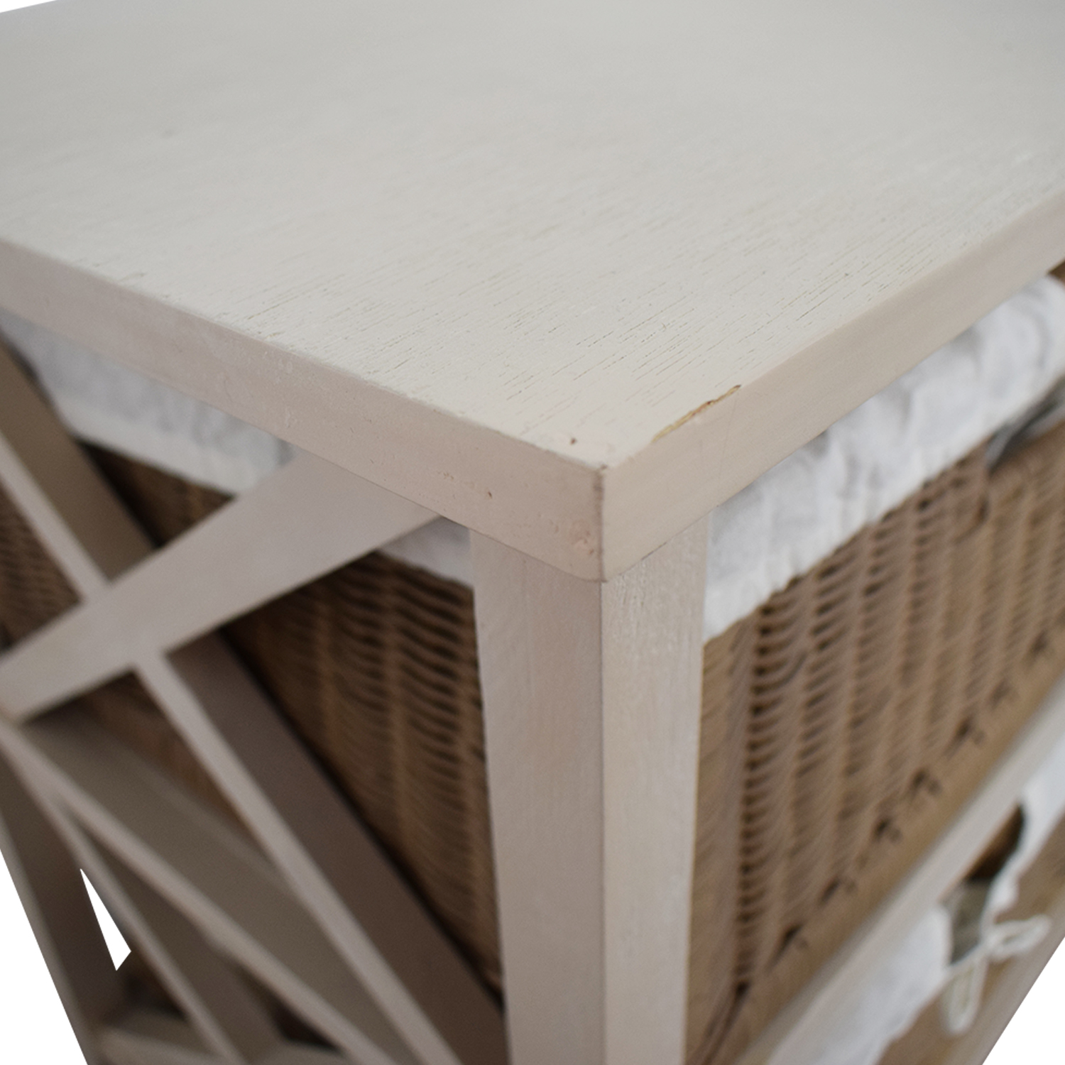 shop End Table With Two Wicker Baskets