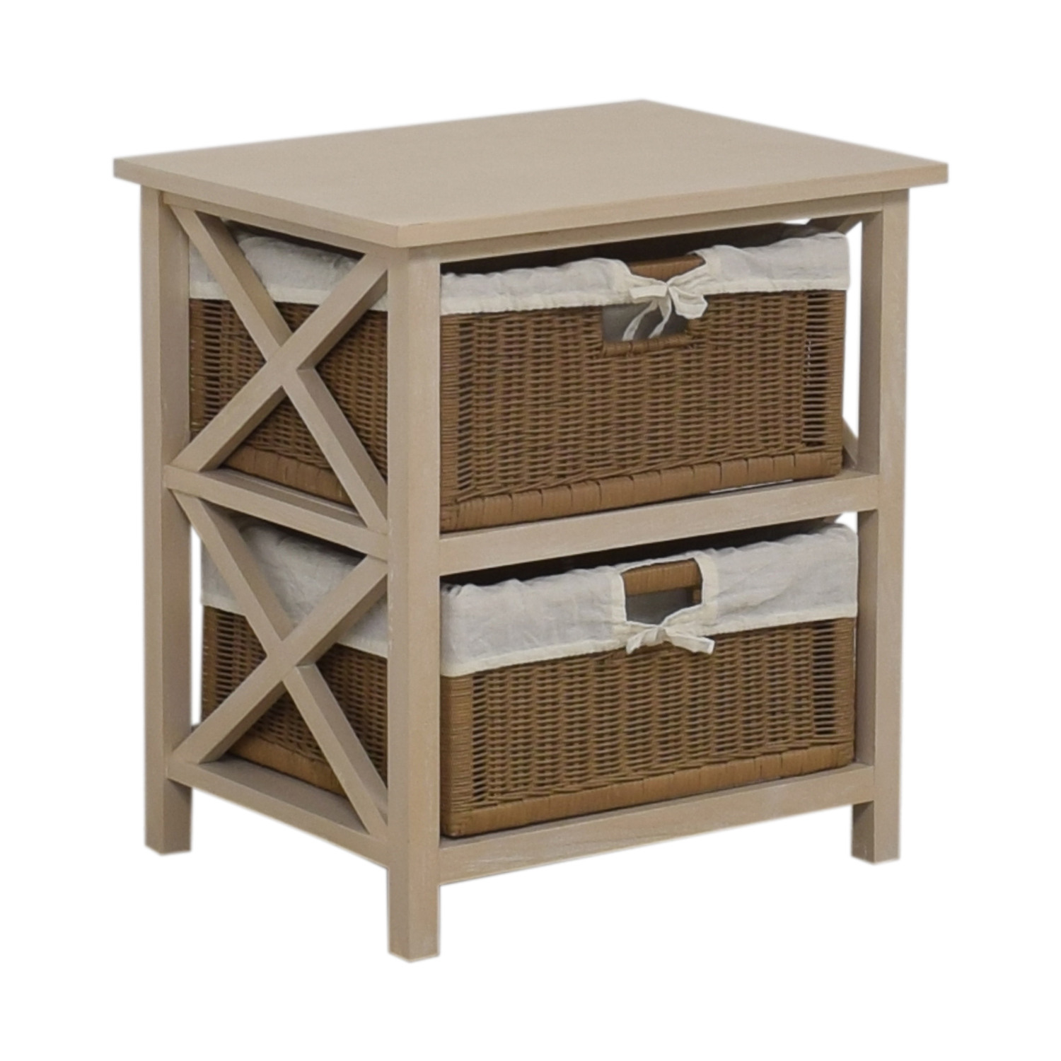 End Table With Two Wicker Baskets