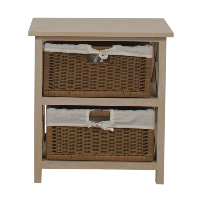 shop End Table With Two Wicker Baskets  Storage