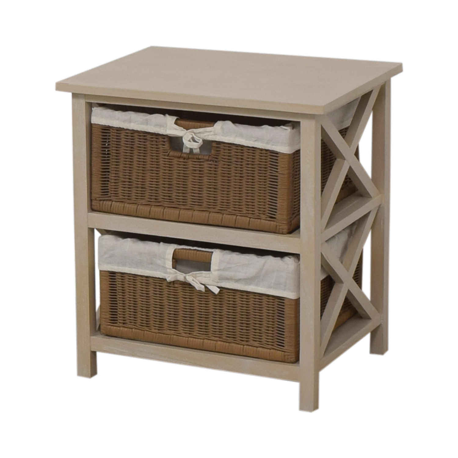 84 Off End Table With Two Wicker Baskets Storage