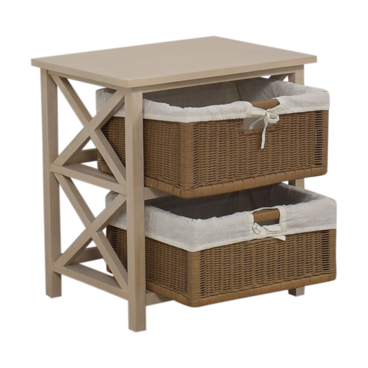 shop End Table With Two Wicker Baskets  End Tables