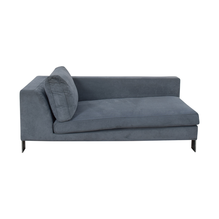 buy Minotti Light Blue Ultrasuede Chaise Minotti