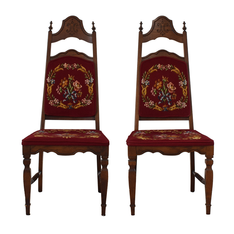 buy Red Floral Embroidered Wood Chairs