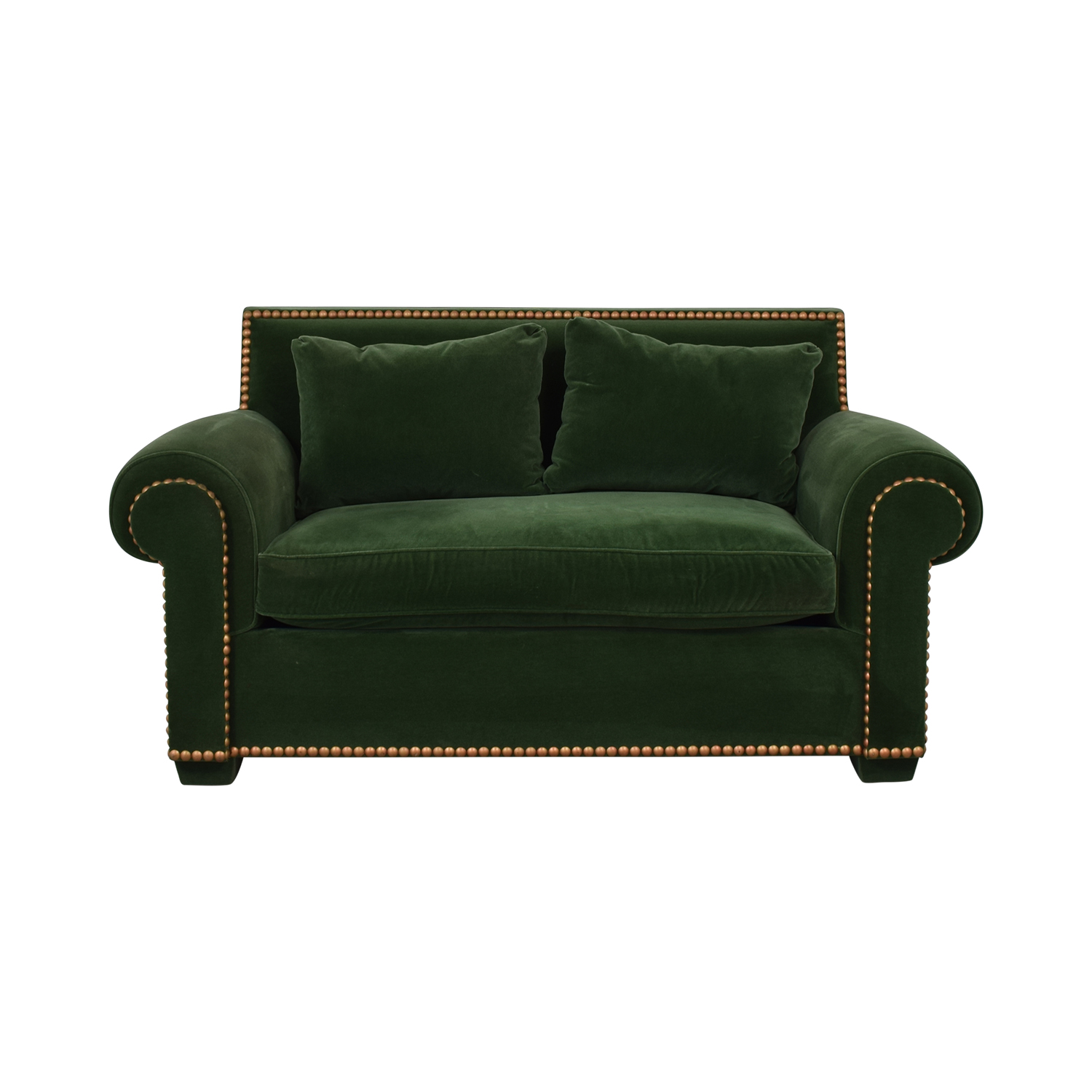 shop Green Nailhead Two-Cushion Loveseat  Loveseats